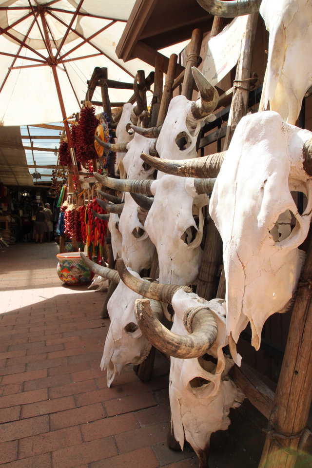 Photo - This July 14, 2010 image shows cow skulls for sale in one of the shops near the historic plaza in Santa Fe, N.M. A national historic landmark, the plaza has served as the commercial, social and political center of Santa Fe since the early 1600s. It plays host to art markets through the year and is home to the Palace of the Governors, the nation's oldest continuously occupied public building. (AP Photo/Susan Montoya Bryan)
