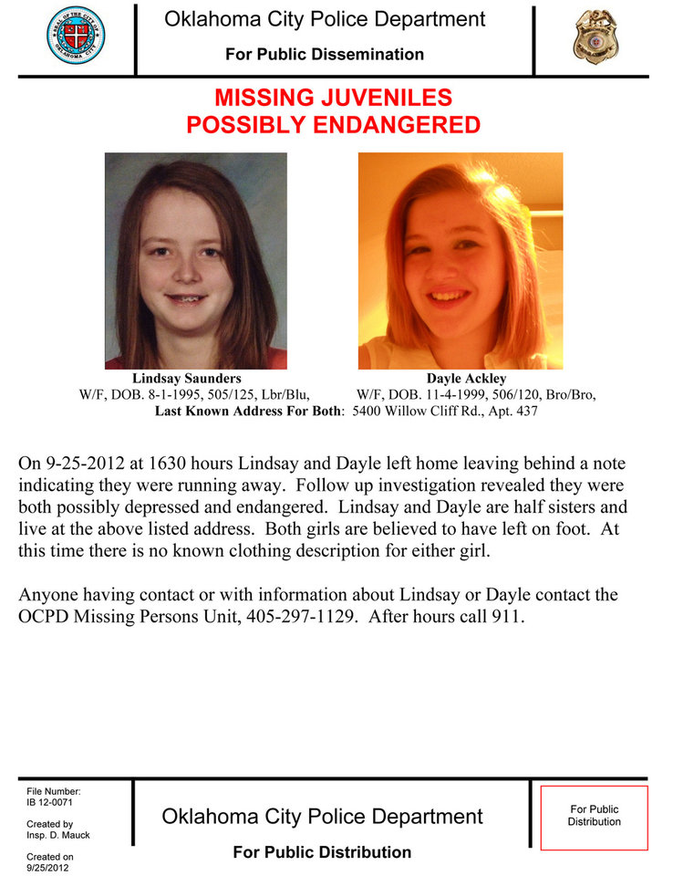 This flier from the Oklahoma City Police Department describes two missing half-sisters, Lindsay Saunders, 17, and Dayle Ackley, 12. Police said anyone with information about the girls should call 911. <strong>PDDM0954PC</strong>