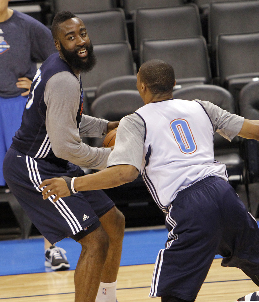 Oklahoma City\'s James Harden and Russell Westbrook go through drills during the NBA Finals practice day at the Chesapeake Energy Arena on Monday, June 11, 2012, in Oklahoma City, Okla. Photo by Chris Landsberger, The Oklahoman