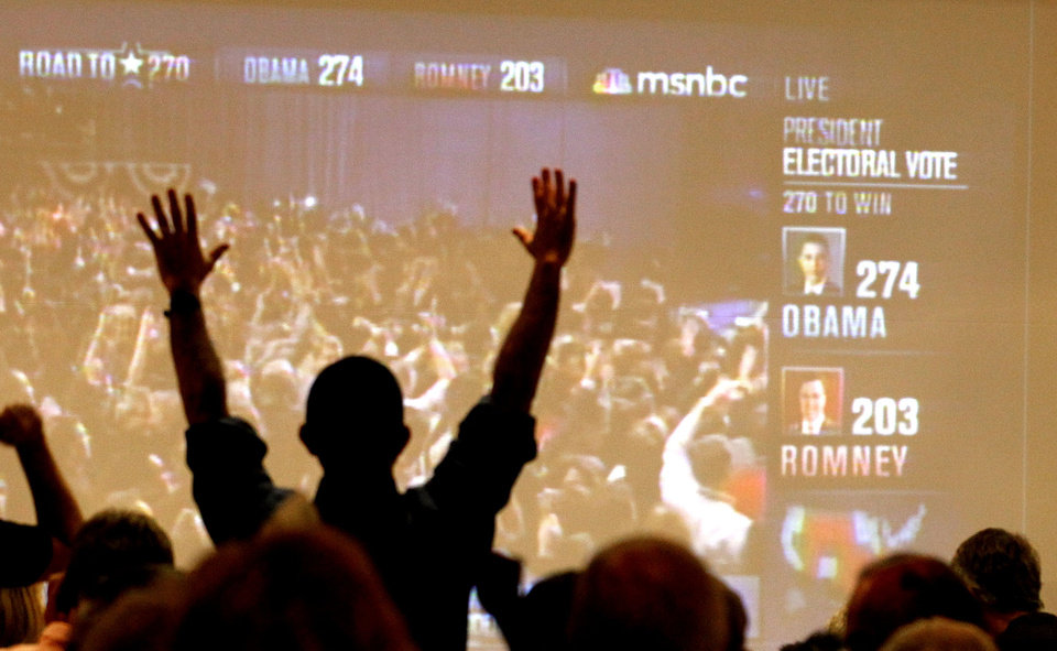 Arizona Democrats celebrate as President Barack Obama is declared the winner of the presidential race at Democratic Party gathering, Tuesday, Nov. 6, 2012, in Tucson, Ariz.(AP Photo/Ross D. Franklin)