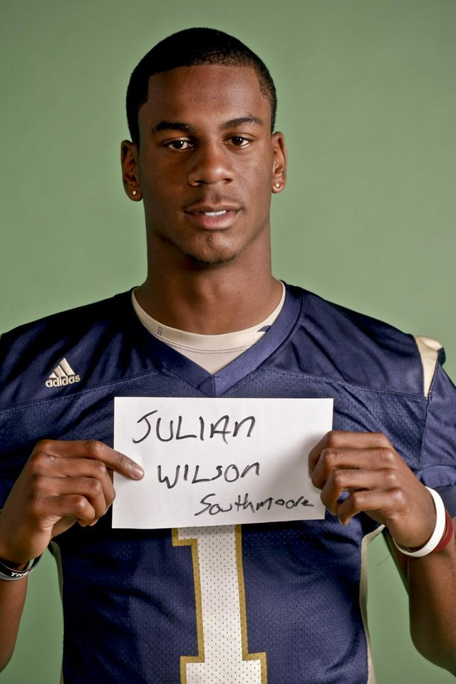 Photo - HIGH SCHOOL FOOTBALL / ALL CITY MUG SHOTS:  Julian WIlson of Southmoore High School on Monday, Dec. 14, 2009, in Oklahoma City, Okla.   Photo by Chris Landsberger, The Oklahoman ORG XMIT: KOD