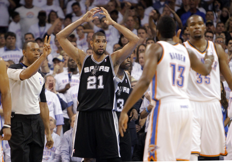 San Antonio's Tim Duncan (21) reacts after being called for a foul during Game 6 of the Western Conference Finals between the Oklahoma City Thunder and the San Antonio Spurs in the NBA playoffs at the Chesapeake Energy Arena in Oklahoma City, Wednesday, June 6, 2012. Photo by Chris Landsberger, The Oklahoman