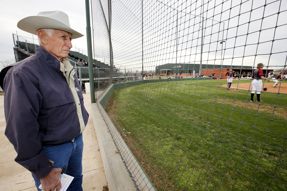 Jim Walton, 77, Major League Baseball Scouting Bureau area scout for Oklahoma and Texas, watches a game at Oklahoma Christian University. Photo by David McDaniel, The Oklahoman  <strong>David McDaniel</strong>