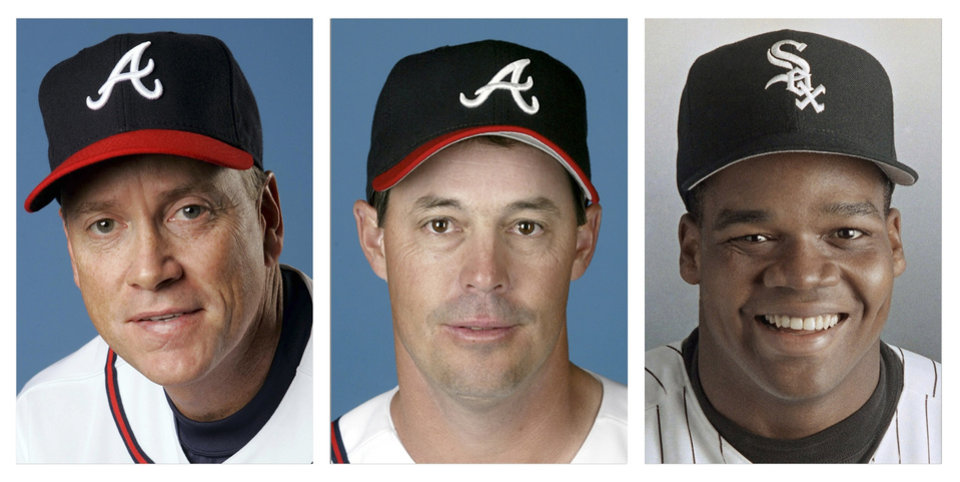 Photo - FILE - From left are Tom Glavine in 2008, Greg Maddux in 2008, and Frank Thomas in 1994 file photos. Glavine, Maddux and Thomas were selected to the Baseball Hall of Fame, Wednesday, Jan. 8, 2014. (AP Photo/File)