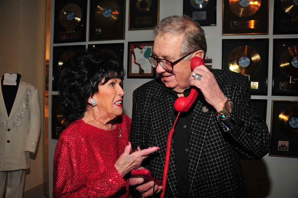 Photo - Oklahoma rock 'n' roll pioneer Wanda Jackson and Jim Halsey appear together at the January opening reception for the exhibit