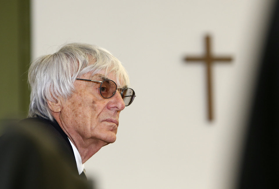 Photo - Formula One boss Bernie Ecclestone waits in the courtroom  in Munich , southern Germany,  Wednesday July 2,  2014. Ecclestone is charged with bribery and incitement to breach of trust
