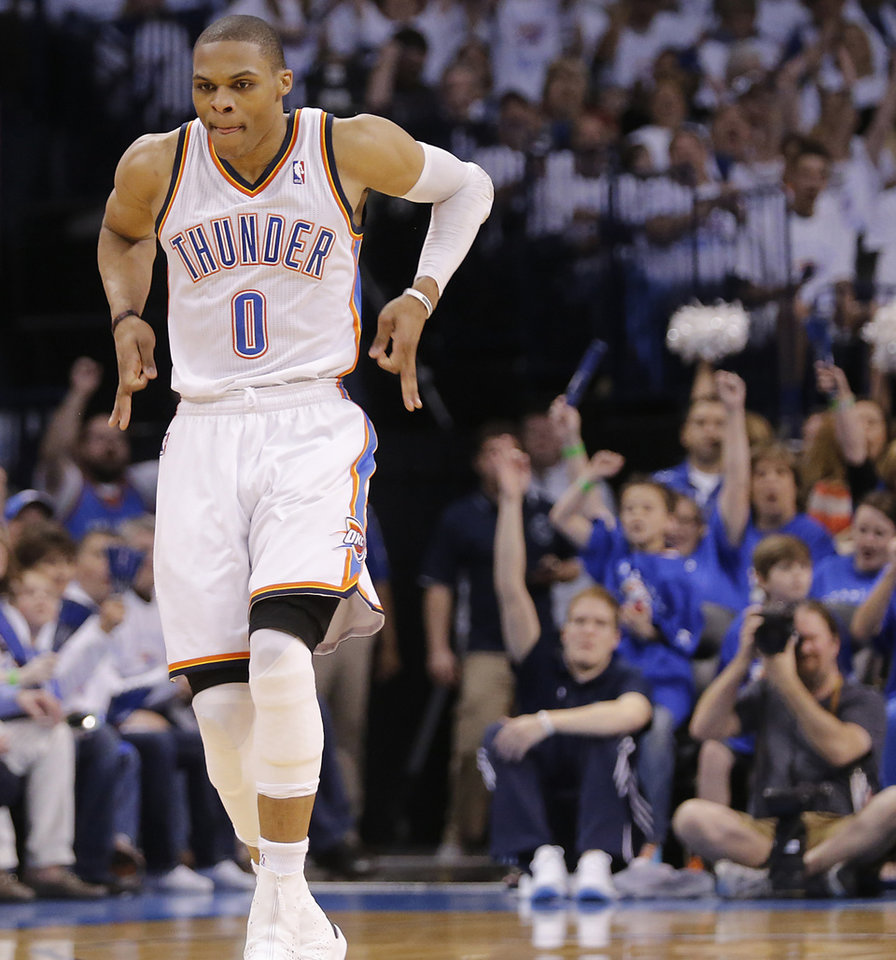Oklahoma City\'s Russell Westbrook (0) reacts after hitting a three point shot during Game 2 in the first round of the NBA playoffs between the Oklahoma City Thunder and the Houston Rockets at Chesapeake Energy Arena in Oklahoma City, Wednesday, April 24, 2013. Photo by Chris Landsberger, The Oklahoman