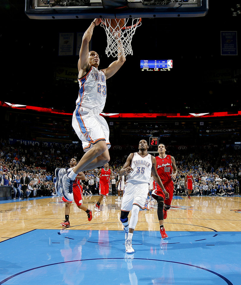 Oklahoma City's Kevin Martin (23) dunks the ball during an NBA basketball game between the Oklahoma City Thunder and the Los Angeles Clippers at Chesapeake Energy Arena in Oklahoma City, Wednesday, Nov. 21, 2012. Photo by Bryan Terry, The Oklahoman