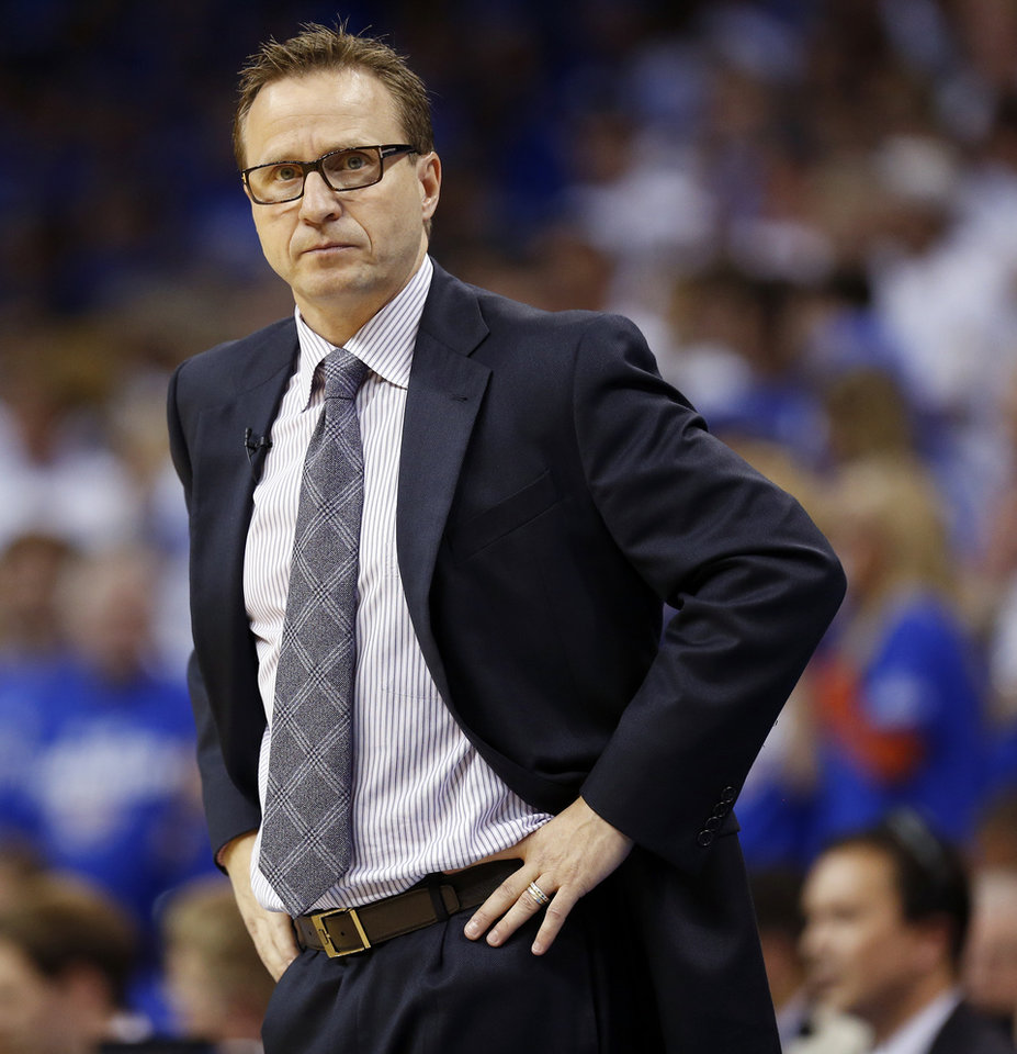 Photo - Oklahoma City head coach Scott Brooks during Game 4 of the Western Conference Finals in the NBA playoffs between the Oklahoma City Thunder and the San Antonio Spurs at Chesapeake Energy Arena in Oklahoma City, Tuesday, May 27, 2014. Oklahoma City won 105-92. Photo by Nate Billings, The Oklahoman