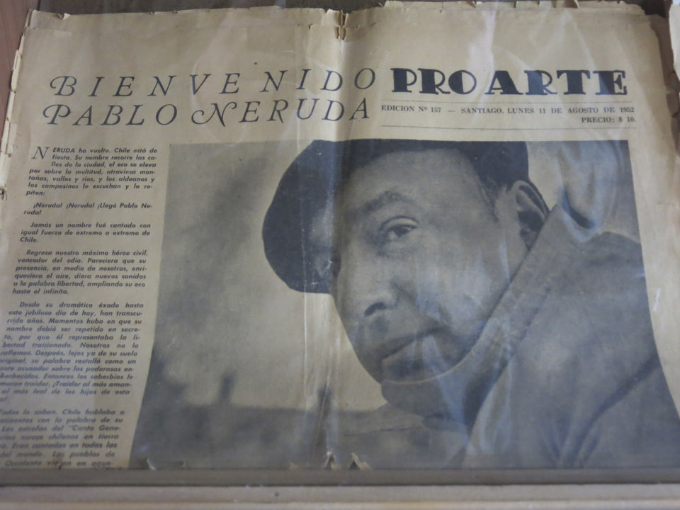 Photo - The copy of an old newspaper featuring Chile's Nobel-Prize winning poet Pablo Neruda is seen in his home in Santiago, Chile, Friday, Nov. 8, 2013. The four-decade mystery of whether Neruda was poisoned was seemingly cleared up on Friday, when forensic test results showed no chemical agents in his bones. But his family and driver were not satisfied and said they'll request more proof. (AP photo/Luis Andres Henao)