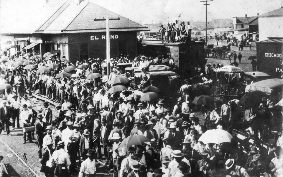 Early Day El Reno.  El Reno Station - Rock Island, 1901.  Time of opening of Kiowa-Comanche-Apache country.