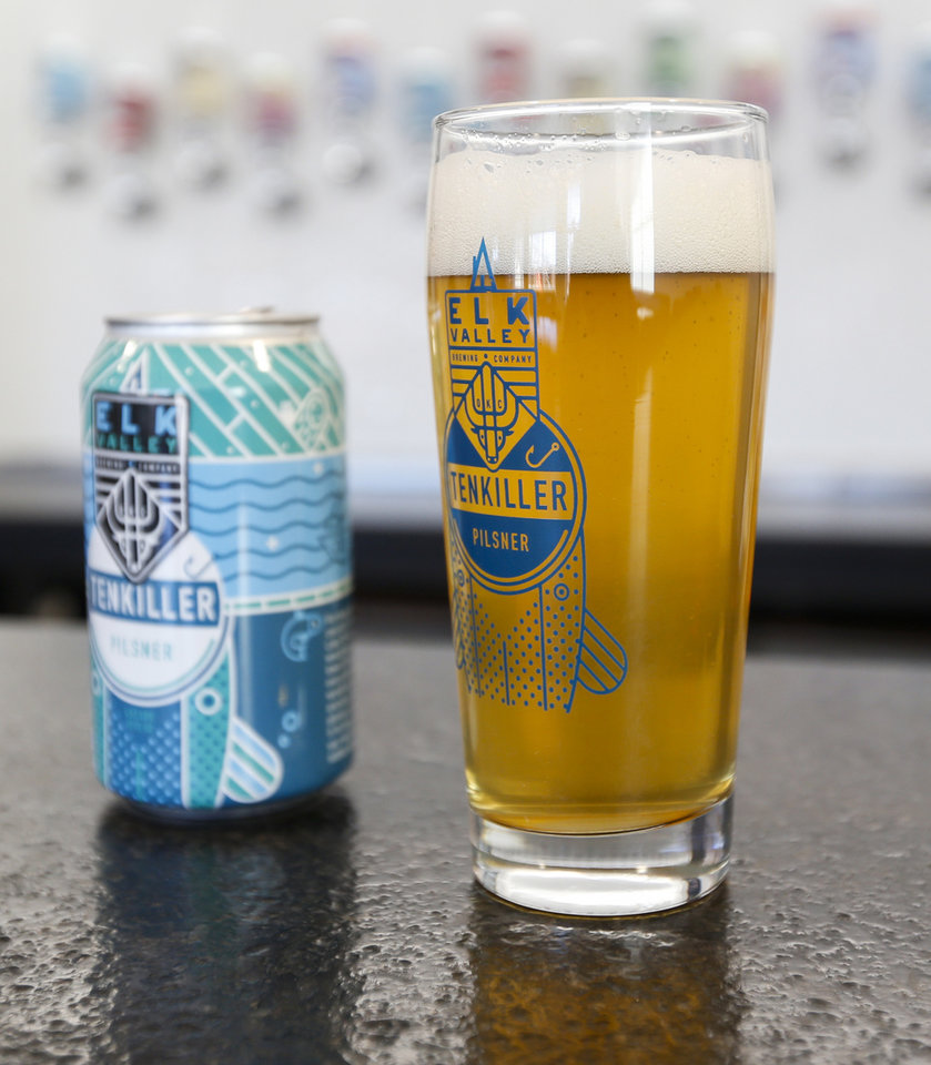 Photo -  A Tenkiller Pilsner beer is among the offerings at the Elk Valley Brewing Company, 1210 N Hudson Ave. [Photo by Nate Billings, The Oklahoman]