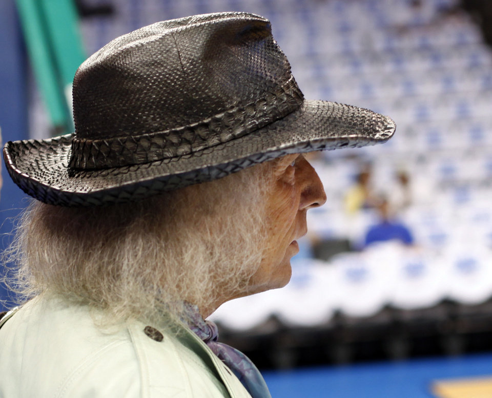 NBA fan James Goldstein surveys the court before Game 2 of the first round in the NBA playoffs between the Oklahoma City Thunder and the Dallas Mavericks at Chesapeake Energy Arena in Oklahoma City, Monday, April 30, 2012. Photo by Nate Billings, The Oklahoman