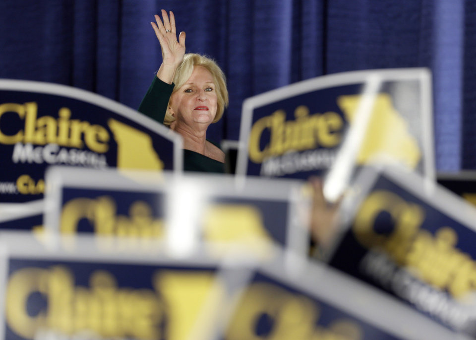 FILE - In this Tuesday, Nov. 6, 2012 file photo, Sen. Claire McCaskill, D-Mo., waves to the crowd as she walks on stage to declare victory over challenger Rep. Todd Akin, R-Mo., in the Missouri Senate race in St. Louis. McCaskill will be one of a record 20 women in the next Senate, 17 of them Democrats. Democrats and liberal advocacy groups have declared victory in what they called a Republican