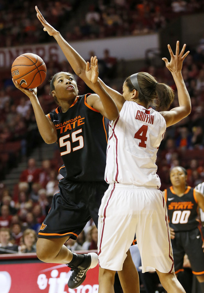 Photo - Oklahoma State's LaShawn Jones (55) tries to score against Oklahoma's Nicole Griffin (4) in the first half during a women's Bedlam college basketball game between the Oklahoma State University Cowgirls (OSU) and the University of Oklahoma Sooners (OU) at Lloyd Noble Center in Norman, Okla., Saturday, Feb. 1, 2014. Photo by Nate Billings, The Oklahoman