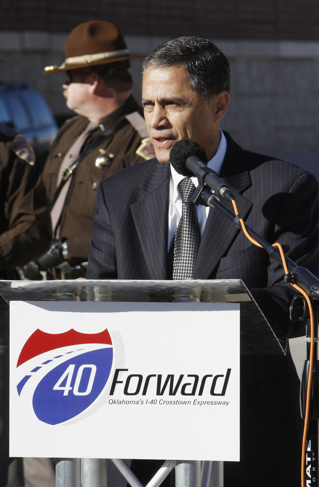 Victor Mendez, Federal Highway Administrator, speaking during grand opening ceremonies for the east bound lanes of the I-40 Crosstown in Oklahoma City Thursday, Jan. 5, 2012. Photo by Paul B. Southerland, The Oklahoman ORG XMIT: KOD