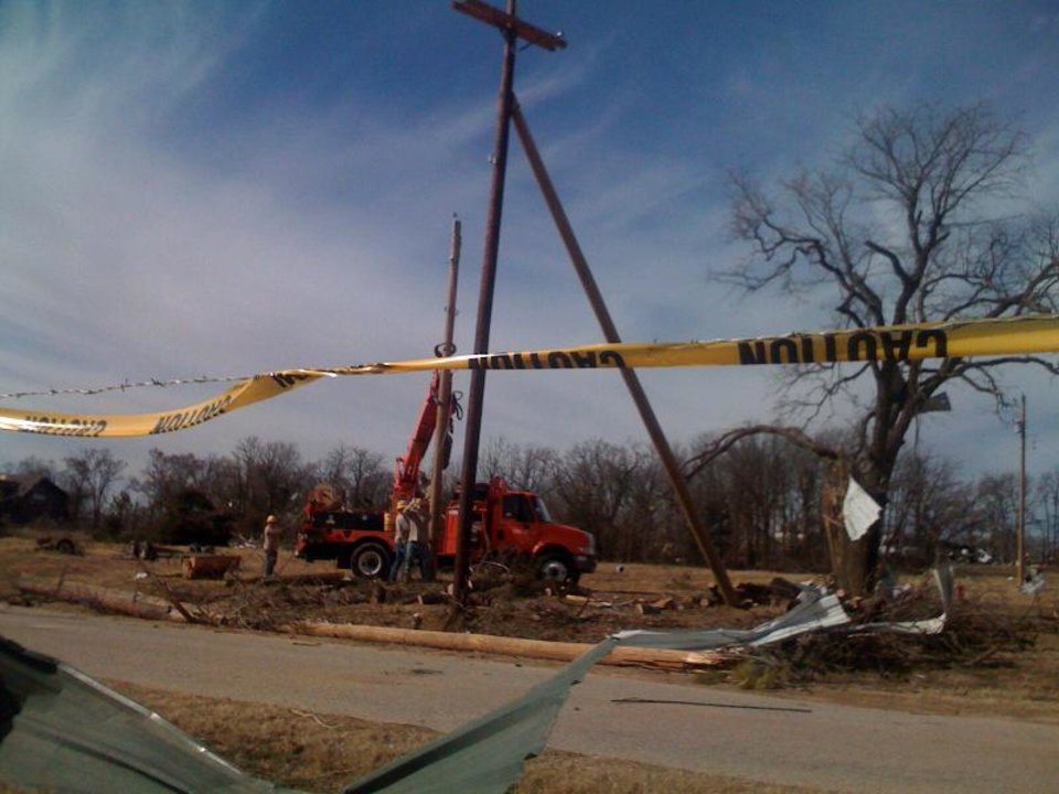 Photo - Damage from Tuesday's tornado in Long Grove, Oklahoma, as seen on Thursday February 12, 2009. Photo by Johnny Johnson.