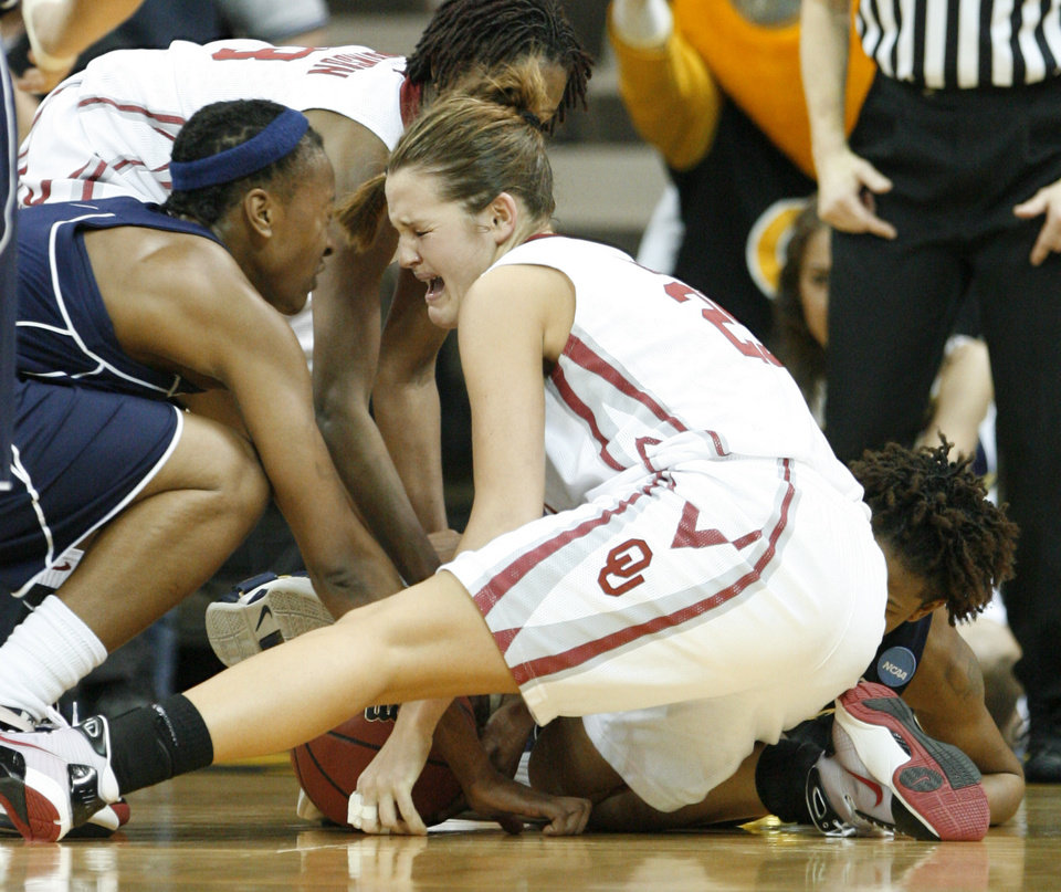 Photo - Whitney Hand ties with Deja Foster in the second half as the University of Oklahoma (OU) plays Georgia Tech in round two of the 2009 NCAA Division I Women's Basketball Tournament at Carver-Hawkeye Arena at the University of Iowa in Iowa City, IA on Tuesday, March 24, 2009. 