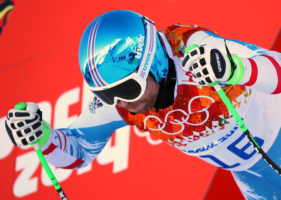 Photo - Austria's Klaus Kroell prepares to start in a men's downhill training run for the 2014 Winter Olympics, Thursday, Feb. 6, 2014, in Krasnaya Polyana, Russia. (AP Photo/Alessandro Trovati)