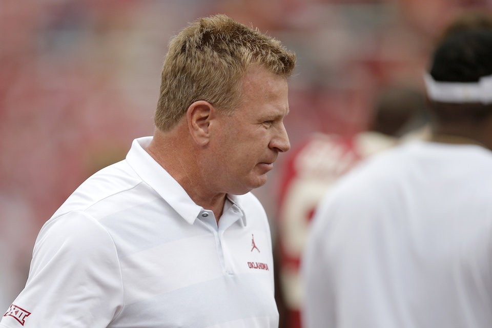 Photo - Oklahoma defensive coordinator Mike Stoops is seen before a college football game between the University of Oklahoma Sooners (OU) and the Baylor Bears at Gaylord Family-Oklahoma Memorial Stadium in Norman, Okla., Saturday, Sept. 29, 2018. Oklahoma won 66-33.  Photo by Bryan Terry, The Oklahoman