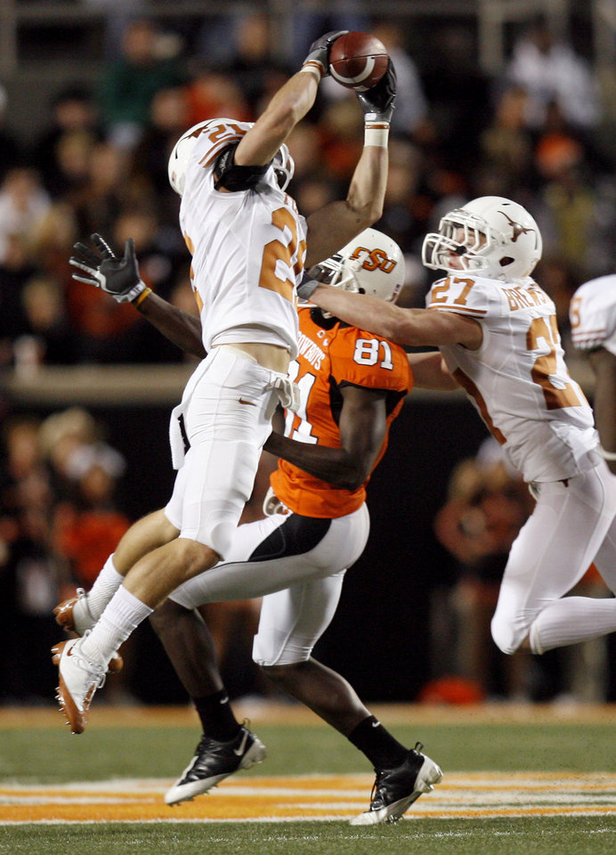Oklahoma State's young receivers struggled in the spotlight Saturday night. Photo by Sarah Phipps, The Oklahoman