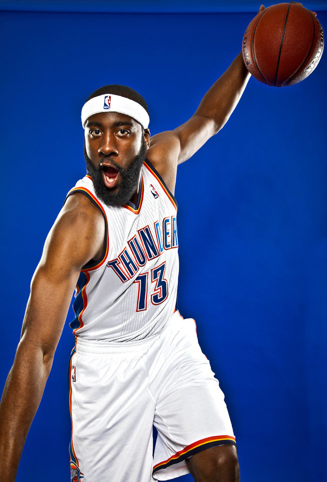 Photo - JAMES HARDEN poses for a photo during the Oklahoma City Thunder media day on Monday, Sept. 27, 2010, in Oklahoma City, Okla.   Photo by Chris Landsberger, The Oklahoman