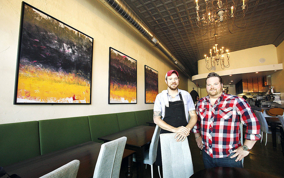 Ludivine chefs and co-owners Jonathon Stranger and Russ Johnson stand at the restaurant, 805 N Hudson,  in Oklahoma City. PHOTO BY PAUL B. SOUTHERLAND, THE OKLAHOMAN ARCHIVES