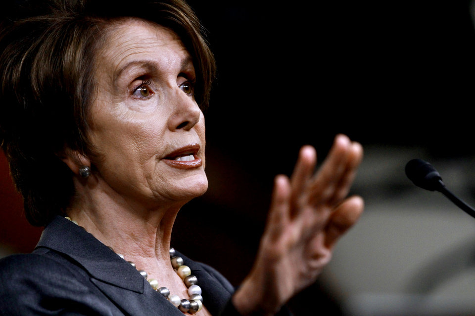 Photo -   House Minority Leader Nancy Pelosi of Calif. gestures during her weekly a news conference on Capitol Hill in Washington, Thursday, April 26, 2012. (AP Photo/Jacquelyn Martin)