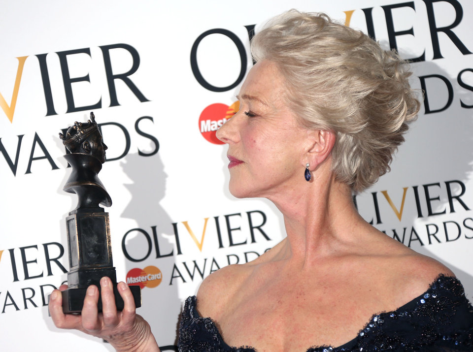 Photo - Helen Mirren winner of Best Actress Award for The Audience  in the press room at the Olivier Awards 2013 at the Royal opera House in London on Sunday, April 28th, 2013. (Photo by Joel Ryan/Invision/AP)