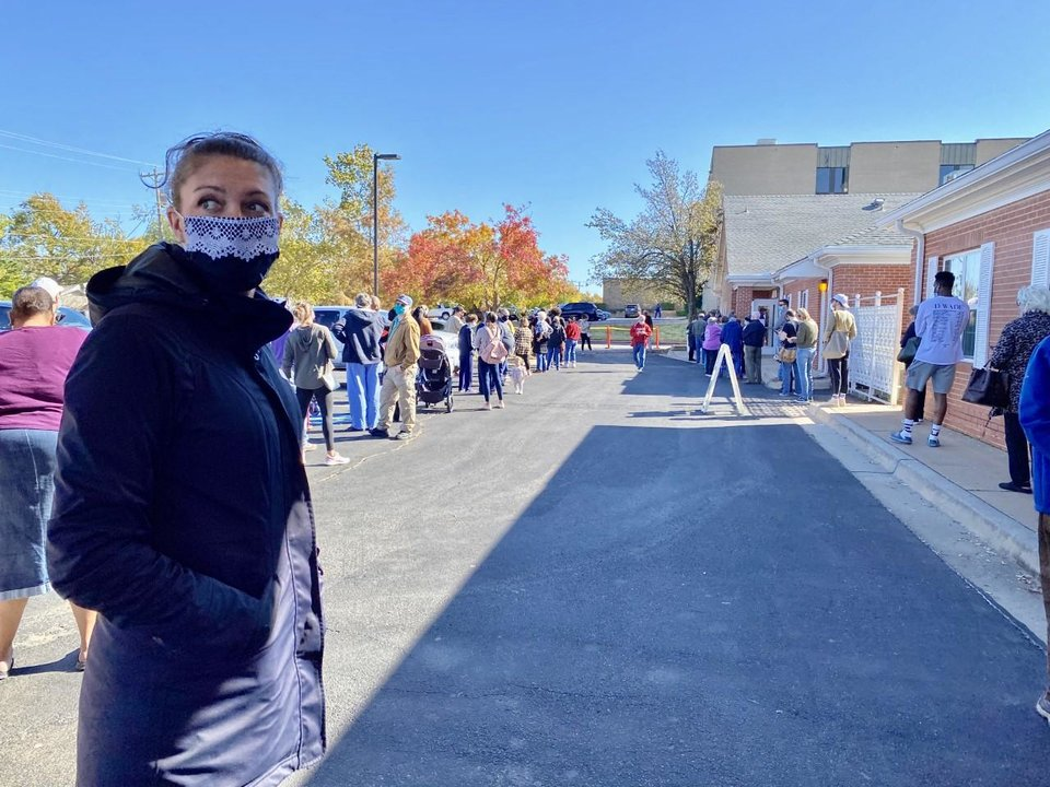 Photo - The Rev. Lori Walke, interim senior pastor at Mayflower Congregational Church-UCC, stands outside the house of worship where voters cast ballots for about three hours on Tuesday during a power outage. [Carla Hinton/The Oklahoman]