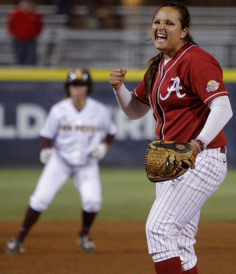 Alabama's Jackie Traina reacts after beating Arizona State during a Women's College World Series game at ASA Hall of Fame Stadium in Oklahoma City, Friday, June 1, 2012.  Photo by Bryan Terry, The Oklahoman