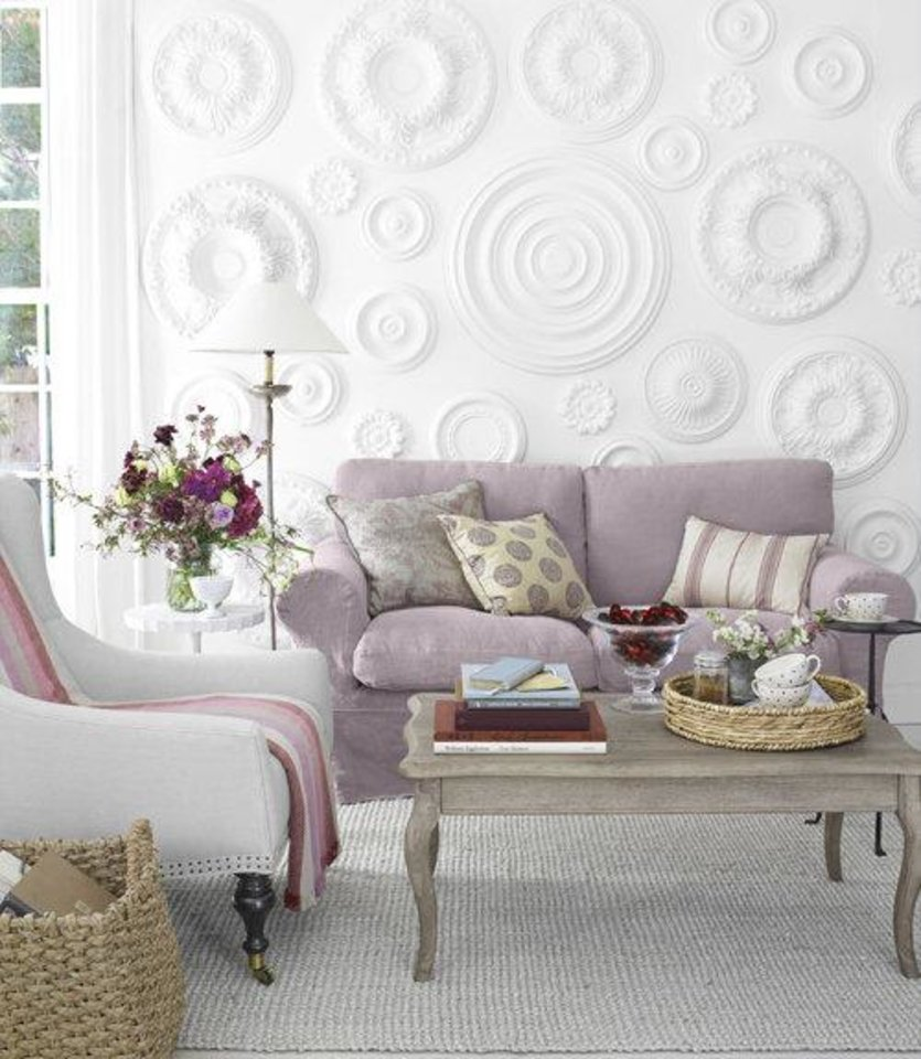 Here is a creative way to use ceiling medallions on a focal wall. Photo from Pinterest. <strong>Miki Duisterhof</strong>