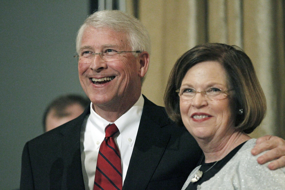 U.S. Sen. Roger Wicker, R-Miss., and his wife Gayle celebrate his reelection at a victory party in Jackson, Miss., Tuesday evening, Nov. 6, 2012. (AP Photo/Rogelio V. Solis)