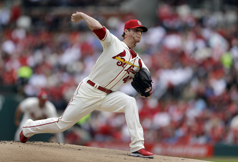 Photo - St. Louis Cardinals starting pitcher Shelby Miller throws during the first inning of a baseball game against the Atlanta Braves on Saturday, May 17, 2014, in St. Louis. (AP Photo/Jeff Roberson)