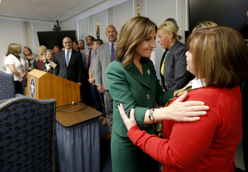 Photo - State schools superintendent Joy Hofmeister thanks supporters after a press conference announcing that the criminal case against against her has been dropped in Oklahoma City, Tuesday, Aug. 1, 2017. Photo by Bryan Terry, The Oklahoman