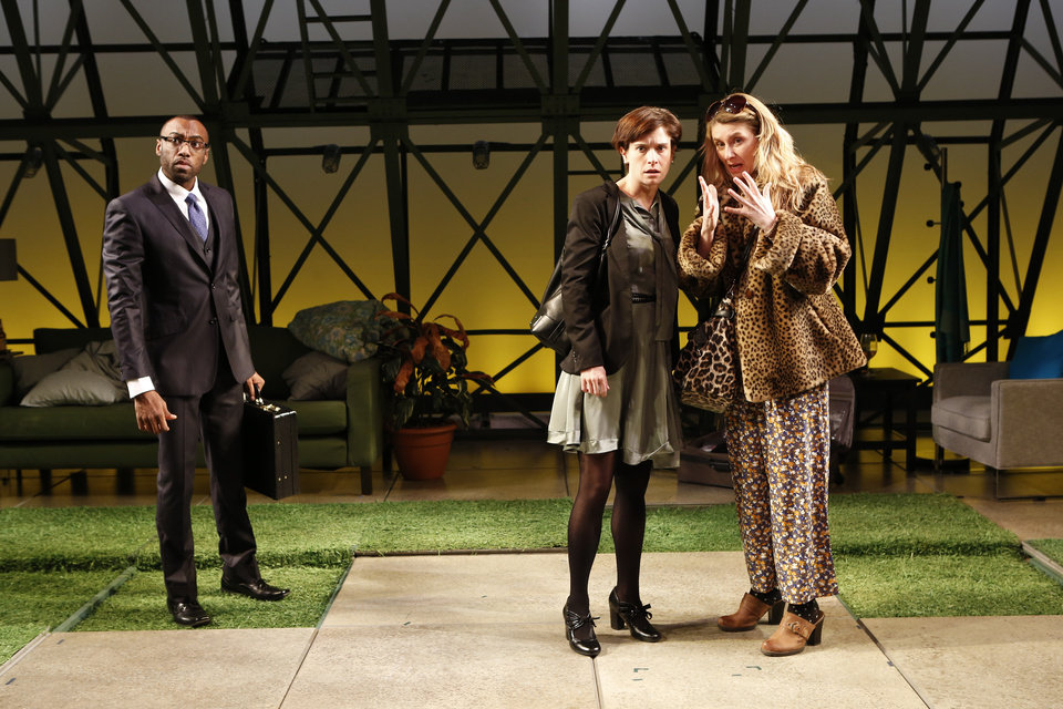 "This theater image released by The Bruce Cohen Group Ltd. show, from left, Maurice McRae, Hannah Cabell and Nadia Bowers, in a scene from ""Collapse"", currently performing off-Broadway at Women's Project Theater, New York City Center Stage II in New York.  (AP Photo/Bruce Cohen Group Ltd, Carol Rosegg)"