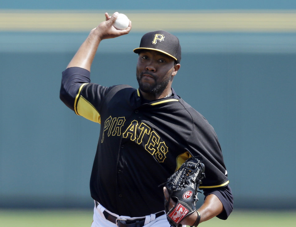 Photo - Pittsburgh Pirates pitcher Jay Jackson throws during the first inning of a spring exhibition baseball game against the Baltimore Orioles in Bradenton, Fla., Monday, March 10, 2014. (AP Photo/Carlos Osorio)