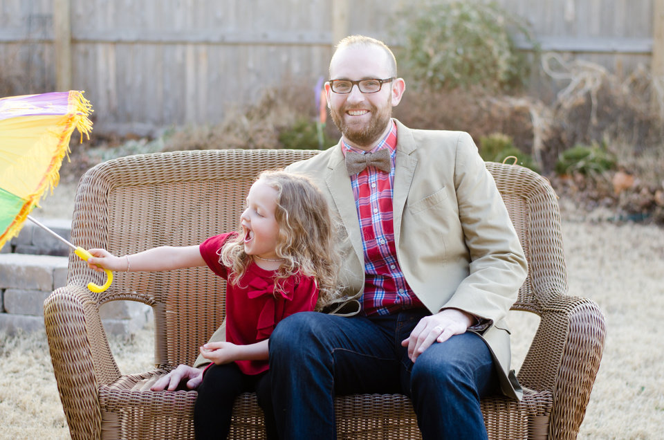 "Photo -  Edmond blogger and author Michael Mitchell poses for a picture with his 3-year-old daughter Isabella, who provided inspiration for his new book ""Life Lessons for Dad: Tea Parties, Tutus & All Things Pink."" Photo provided"