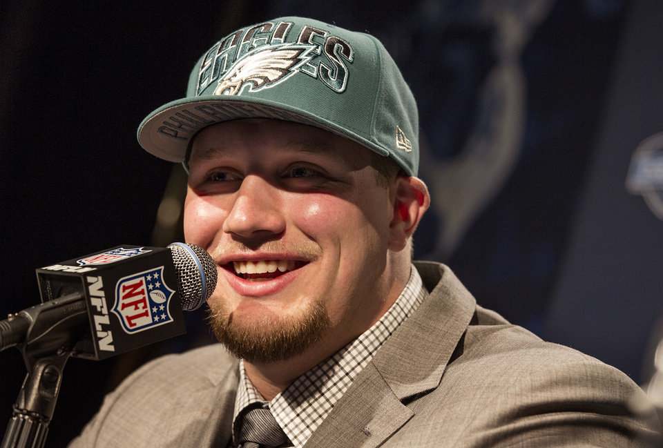 Lane Johnson, from Oklahoma, speaks during a news conference after being selected fourth overall by the Philadelphia Eagles during the first round of the NFL football draft, Thursday, April 25, 2013, at Radio City Music Hall in New York. (AP Photo/Craig Ruttle) ORG XMIT: NYCR120