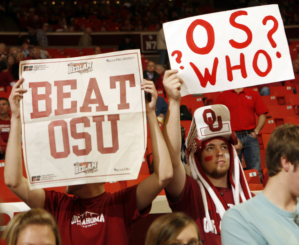 Photo - Fans raise signs before the college bedlam basketball game between The University of Oklahoma Sooners (OU) and Oklahoma State University University Cowboys (OSU) at the Lloyd Noble Center on Monday, Jan. 11, 2010, in Norman, Okla.