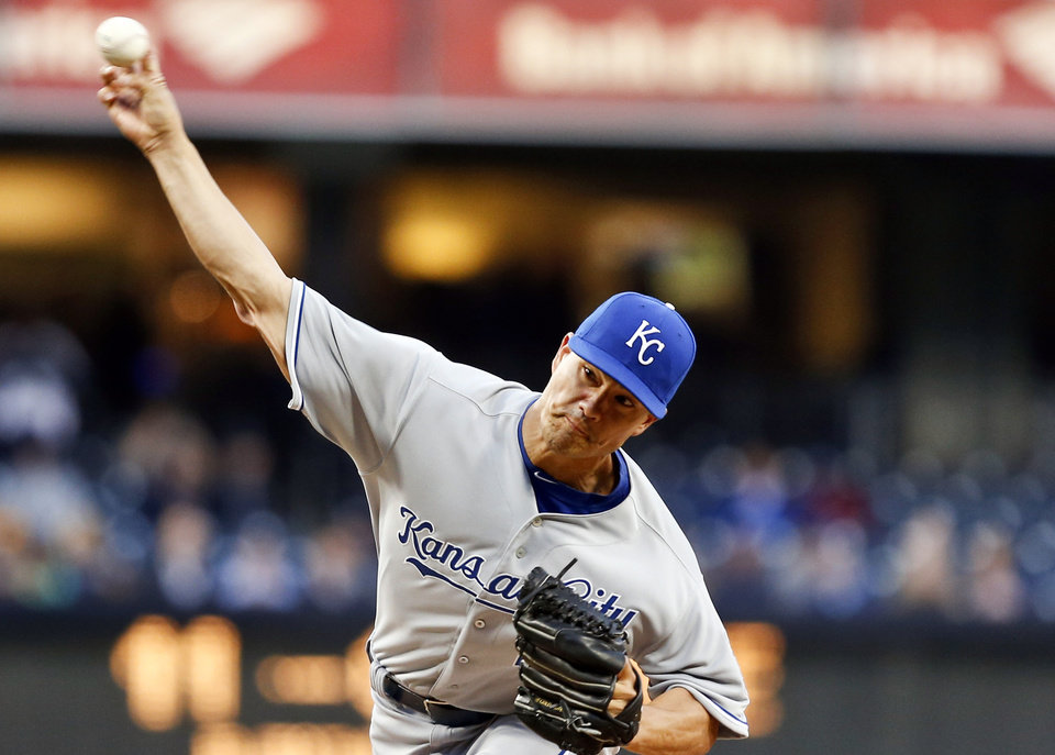Photo - Kansas City Royals starting pitcher Jeremy Guthrie works against the San Diego Padres during the first inning of a baseball game Tuesday, May 6, 2014, in San Diego. (AP Photo/Lenny Ignelzi)