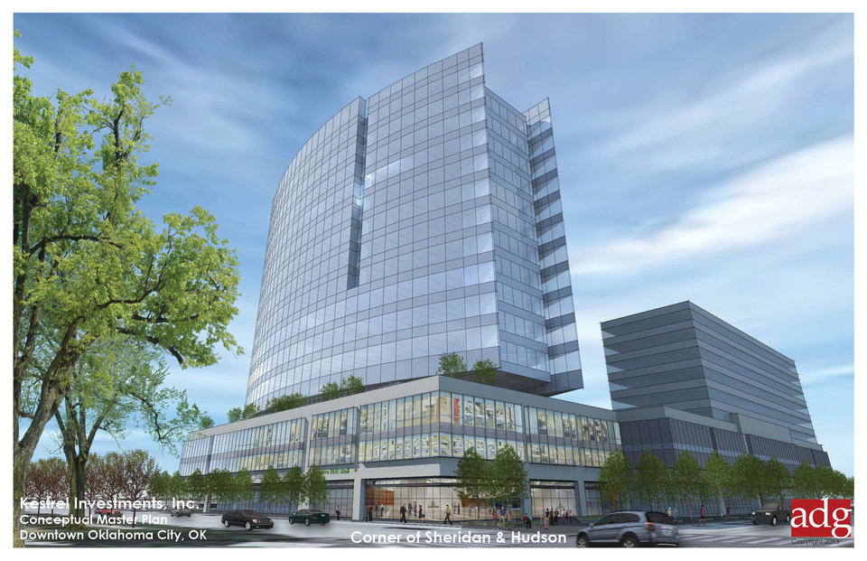 Photo - The new OGE Energy Corp. headquarters, shown in this rendering at Hudson and Sheridan avenues, would feature restaurants and retail at ground level. Rendering provided