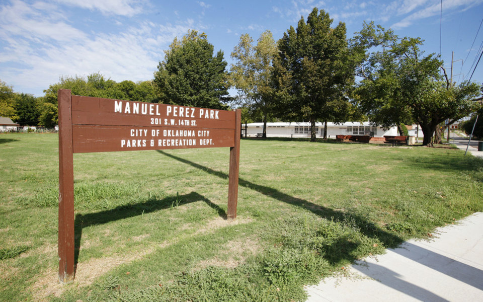 Photo - A plaque honoring Army Pfc. Manuel Perez Jr., an Oklahoma City native who earned the Congressional Medal of Honor during World War II, was stolen years ago from the park bearing his name. Local community advocates are working to raise money for a new plaque and to refurbish parts of the park, which sits on the border of the planned MAPS 3 urban park. Photo by Paul B. Southerland, The Oklahoman  PAUL B. SOUTHERLAND - The Oklahoman