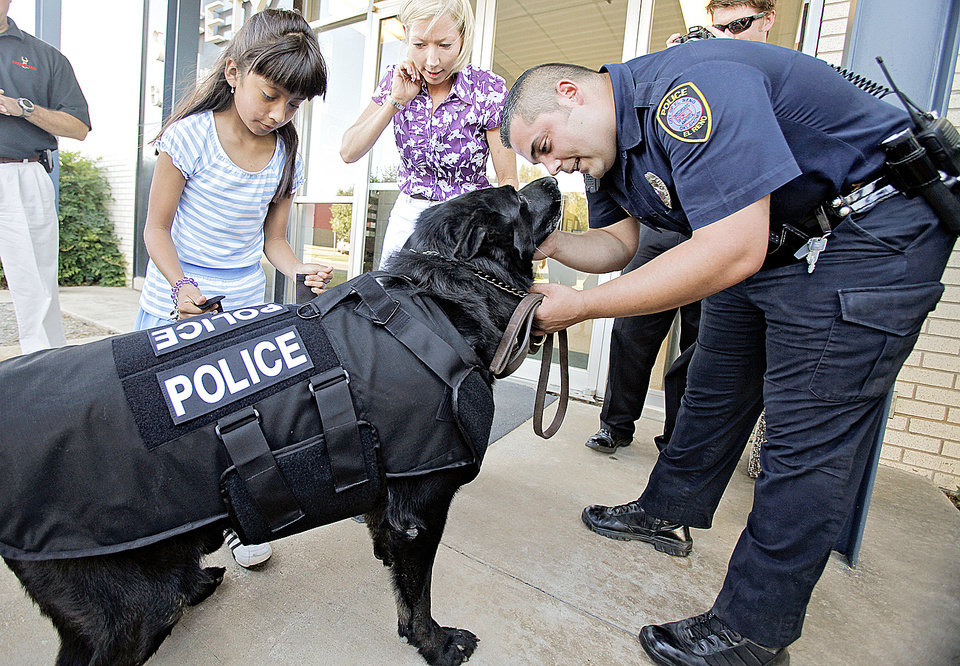 Right: Vicky Galindo, 9, helps El Reno police officer Chris Leal put a new bulletproof vest on K9 officer Hero. Galindo helped raise money to buy the vest for the police dogs.  PHOTO BY CHRIS LANDSBERGER,  THE OKLAHOMAN