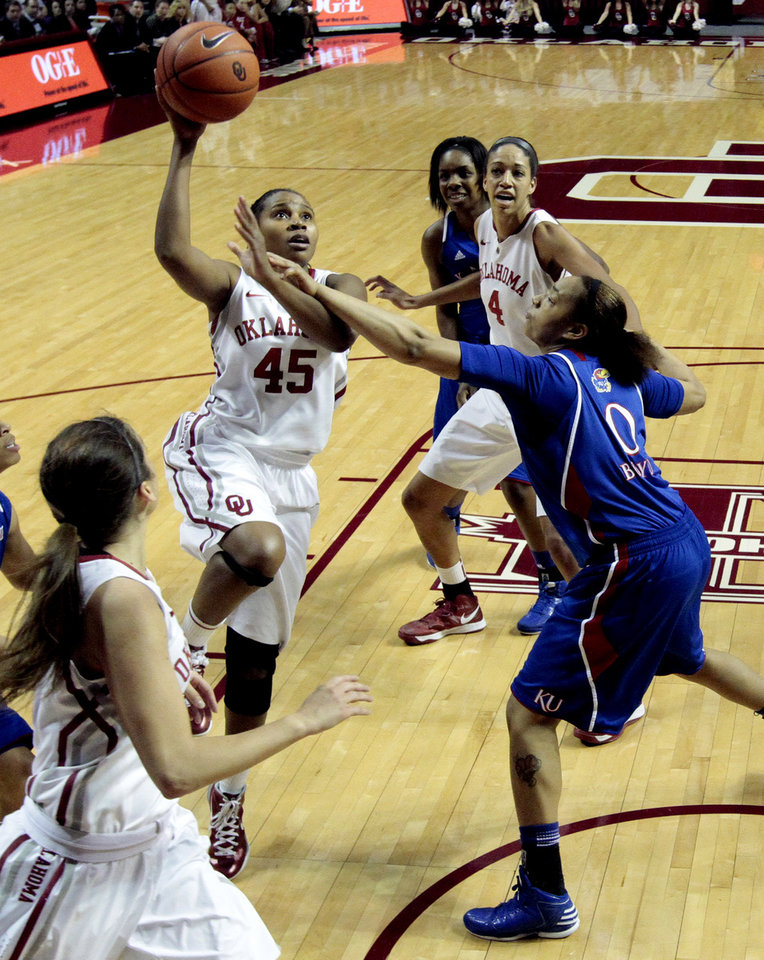 Oklahoma Sooner's Jasmine Hartman (45) shoots guarded by Kansas Jayhawks' Asia Boyd (0) as the University of Oklahoma Sooners (OU) play the Kansas Jayhawks in NCAA, women's college basketball at The Lloyd Noble Center on Saturday, March 2, 2013  in Norman, Okla. Photo by Steve Sisney, The Oklahoman