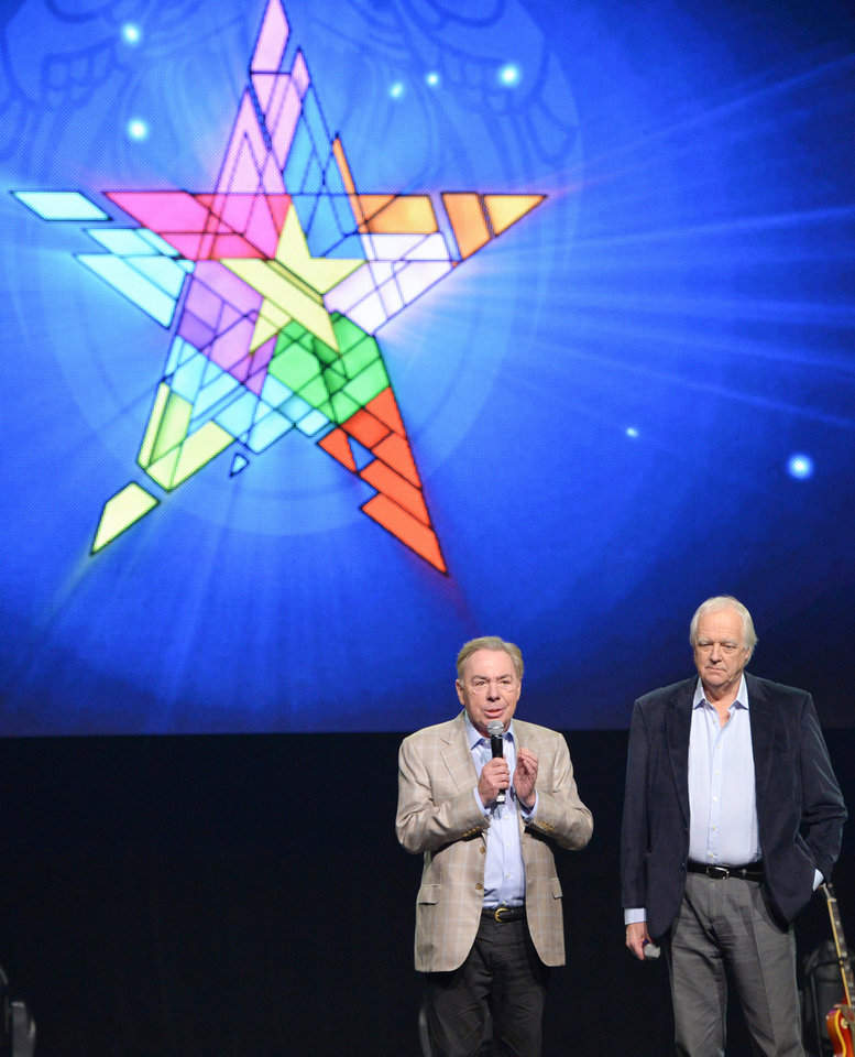 Photo - Composer Andrew Lloyd Webber, left, and lyricist Tim Rice announce the new