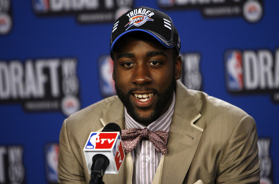 Photo - Arizona State's James Harden takes questions in the interview room after being selected by the Oklahoma City Thunder as the No. 3 pick in the first round of the NBA basketball draft Thursday, June 25, 2009, in New York. (AP Photo/Jason DeCrow)