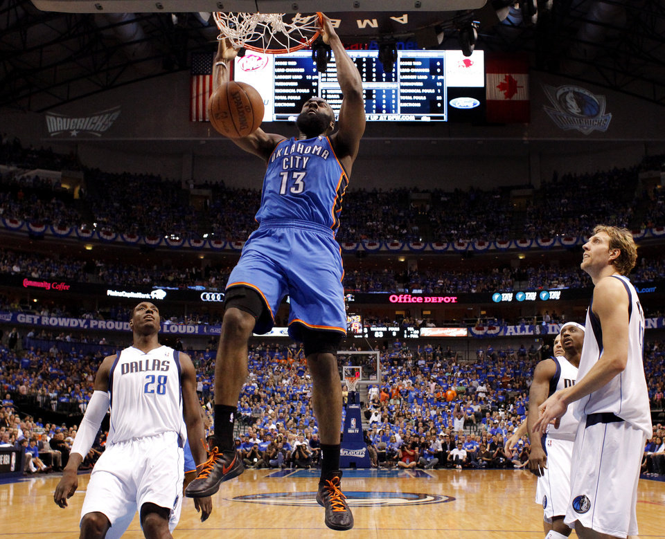 Photo - Oklahoma City's James Harden (13) dunks the ball as Dallas' Ian Mahinmi (28), Jason Terry (31), and Dirk Nowitzki (41) watch during Game 4 of the first round in the NBA playoffs between the Oklahoma City Thunder and the Dallas Mavericks at American Airlines Center in Dallas, Saturday, May 5, 2012. Oklahoma City won 103-97. Photo by Bryan Terry, The Oklahoman