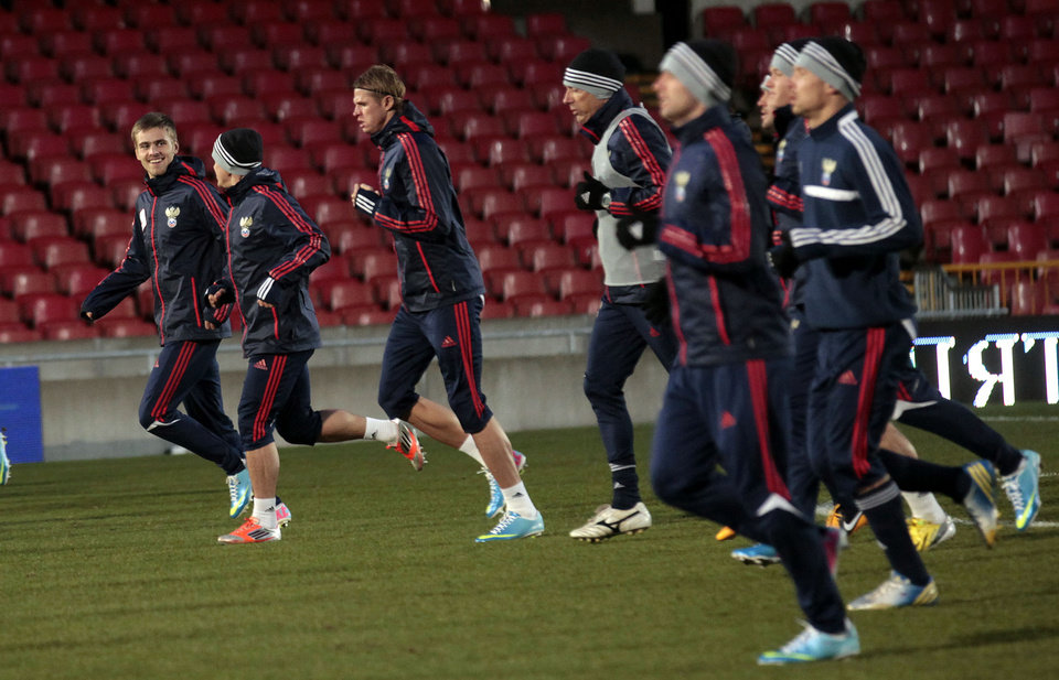 Members of the Russian soccer team training at Windsor Park, Belfast, Northern Ireland, Thursday, March 21, 2013. The team were training ahead of their World Cup 2014 Qualifying Group F match against Northern Ireland on Friday.  (AP Photo/Peter Morrison)