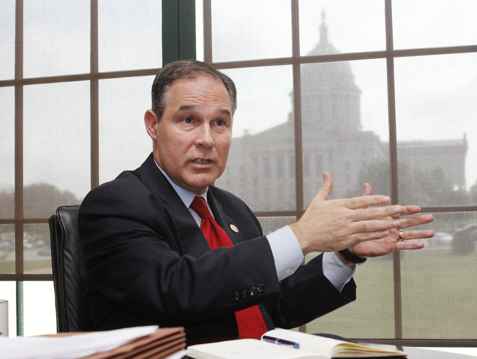 Oklahoma Attorney General Scott Pruitt speaks from his office near the capitol. Photo by Paul Hellstern, The Oklahoman